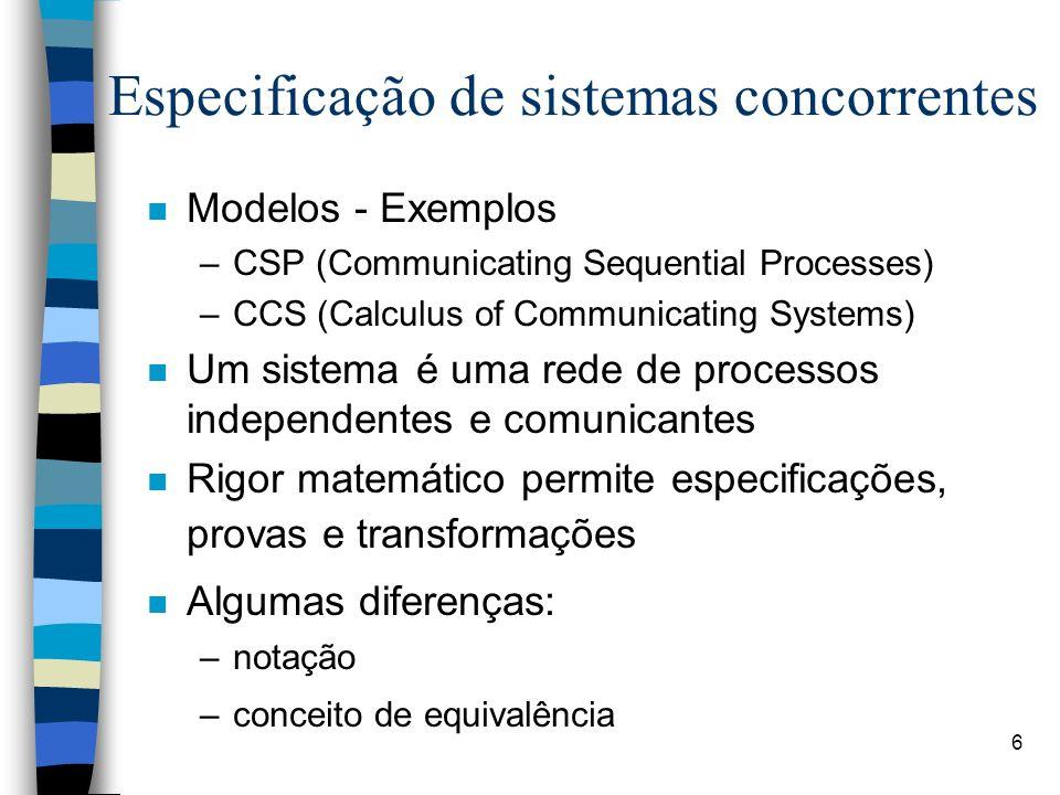 Especificação de sistemas concorrentes