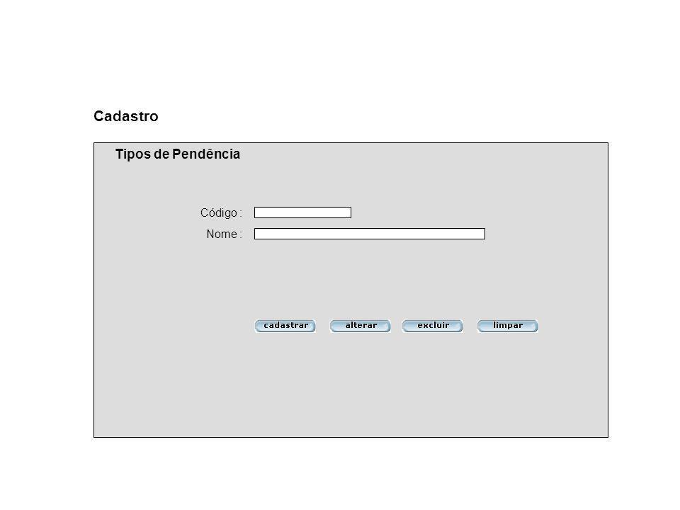 Cadastro Tipos de Pendência Código : Nome :