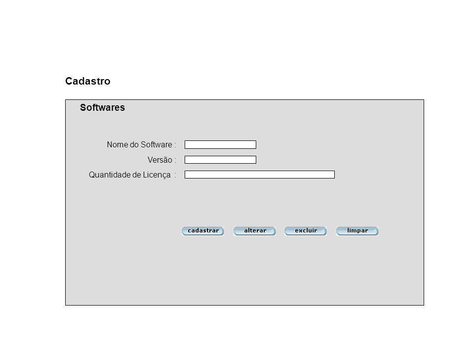 Cadastro Softwares Nome do Software : Versão : Quantidade de Licença :