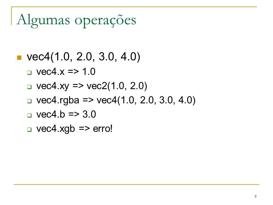 Algumas operações vec4(1.0, 2.0, 3.0, 4.0) vec4.x => 1.0