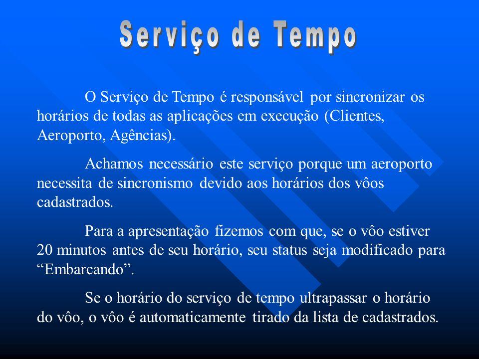 Serviço de TempoO Serviço de Tempo é responsável por sincronizar os horários de todas as aplicações em execução (Clientes, Aeroporto, Agências).