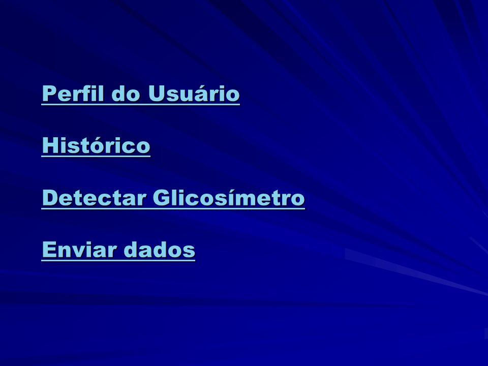 Perfil do Usuário Histórico Detectar Glicosímetro Enviar dados