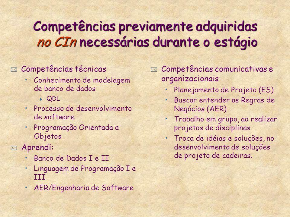 Competências previamente adquiridas no CIn necessárias durante o estágio