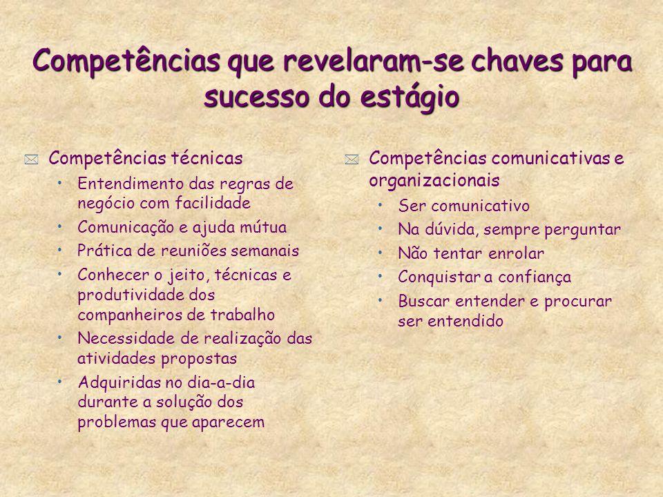 Competências que revelaram-se chaves para sucesso do estágio