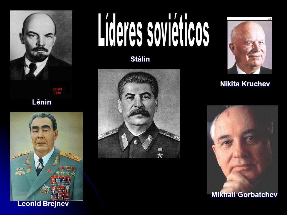 Líderes soviéticos Stálin Nikita Kruchev Lênin Mikhail Gorbatchev Leonid Brejnev