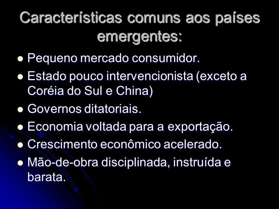 Características comuns aos países emergentes: