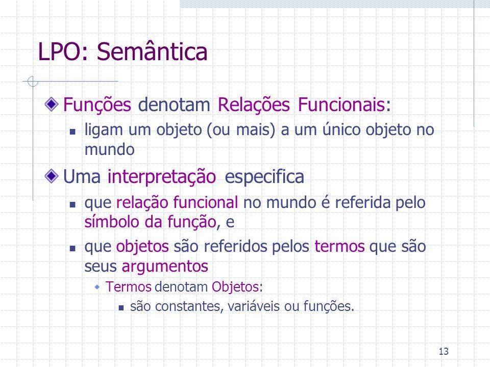 LPO: Semântica Funções denotam Relações Funcionais: