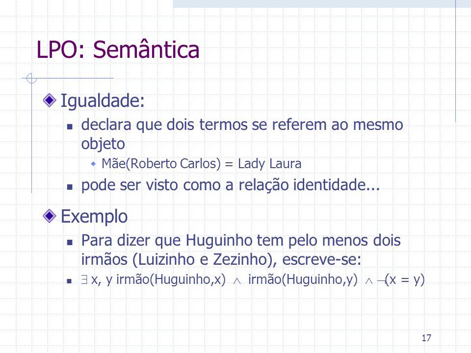 LPO: Semântica Igualdade: Exemplo