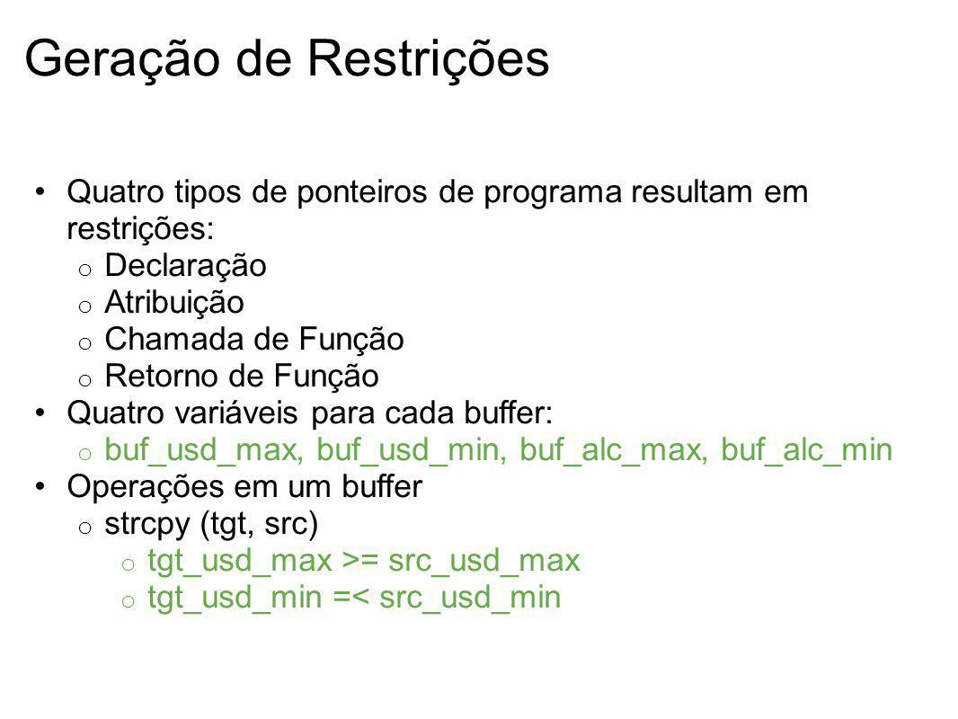 Geração de Restrições Quatro tipos de ponteiros de programa resultam em restrições: Declaração. Atribuição.