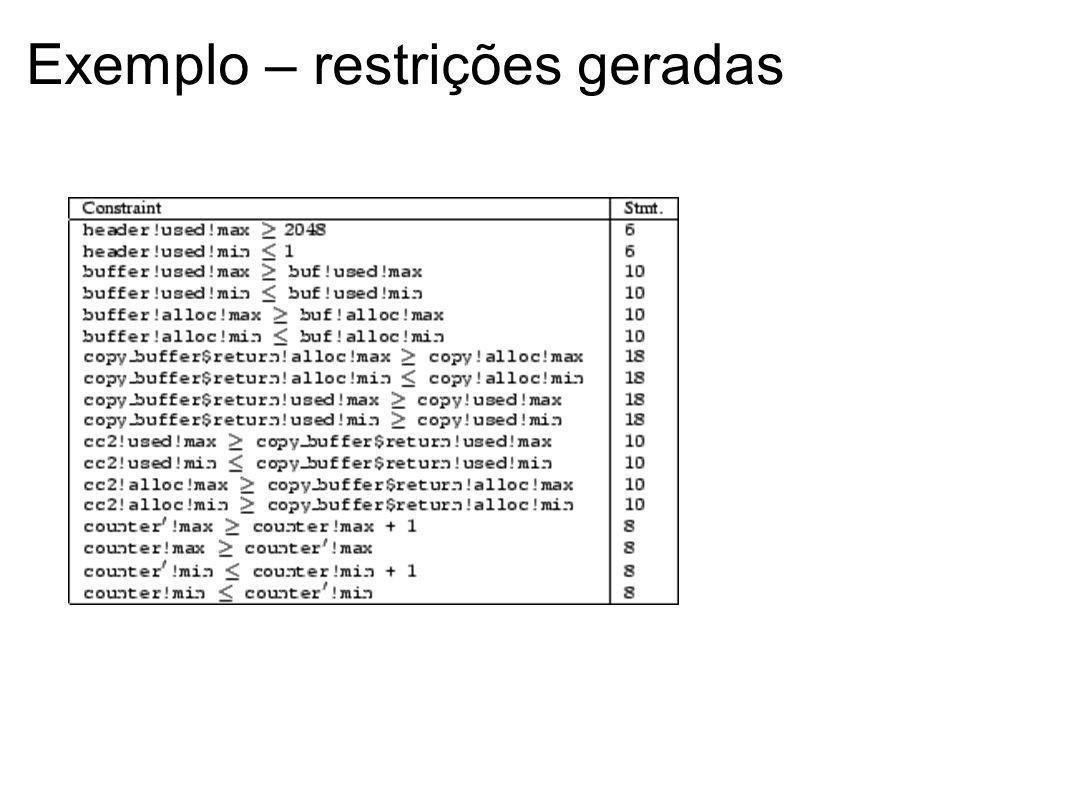 Exemplo – restrições geradas