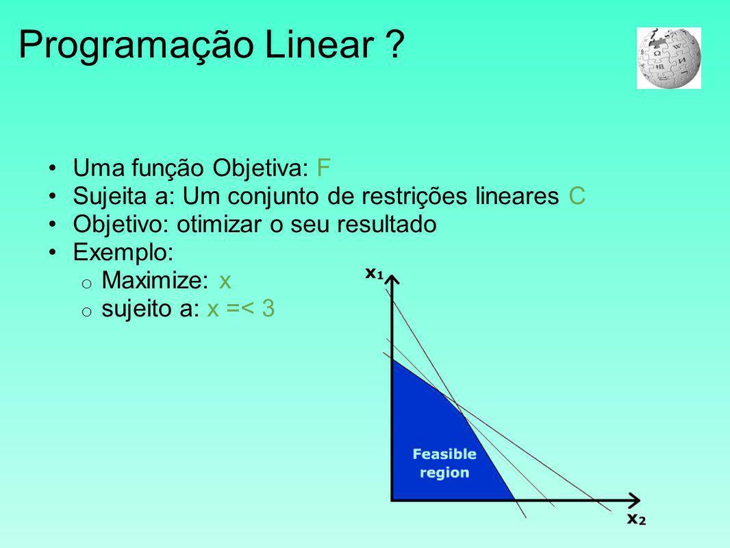 Programação Linear Uma função Objetiva: F