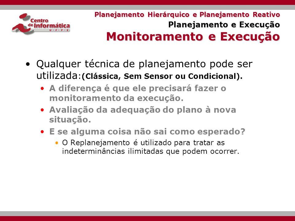 Planejamento Hierárquico e Planejamento Reativo Planejamento e Execução Monitoramento e Execução
