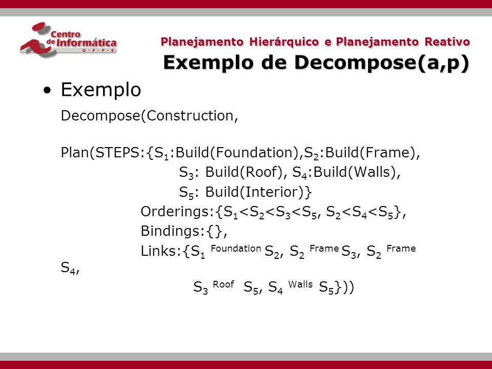 Exemplo Decompose(Construction,