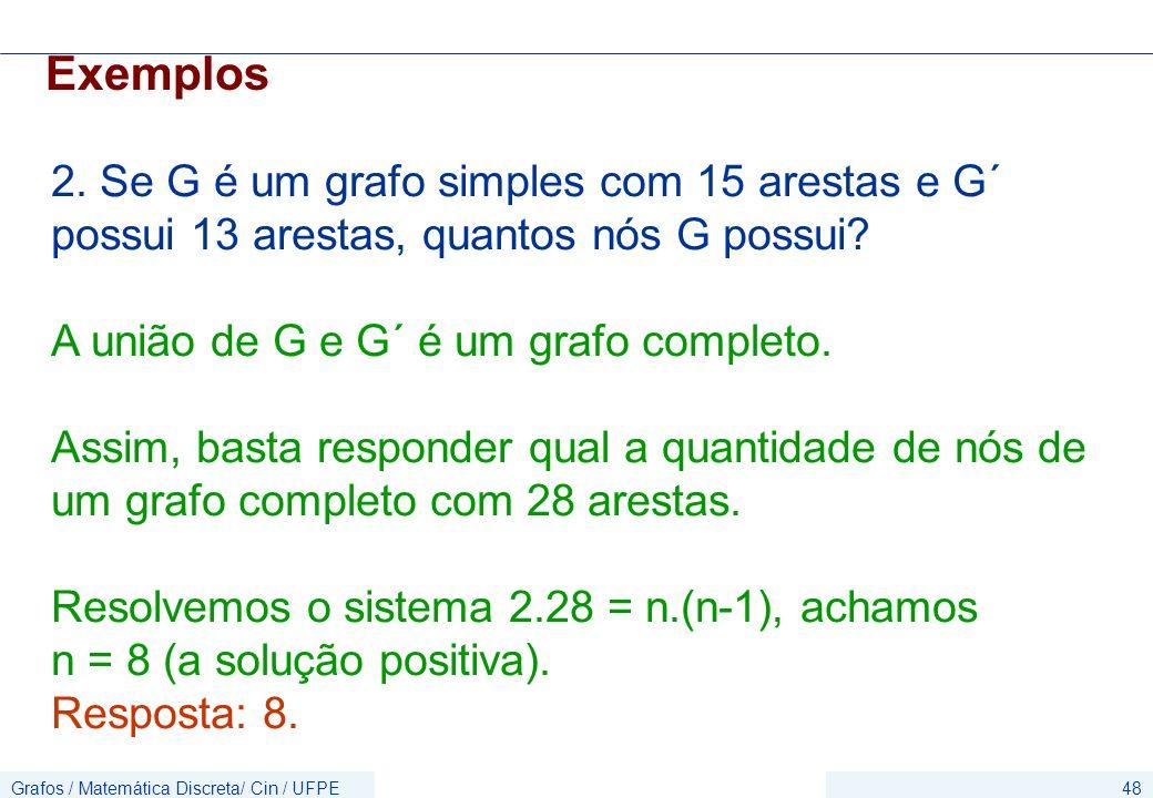 Exemplos 2. Se G é um grafo simples com 15 arestas e G´ possui 13 arestas, quantos nós G possui A união de G e G´ é um grafo completo.