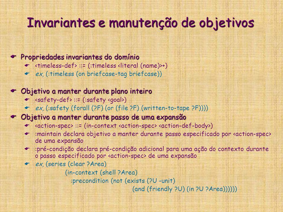 Invariantes e manutenção de objetivos