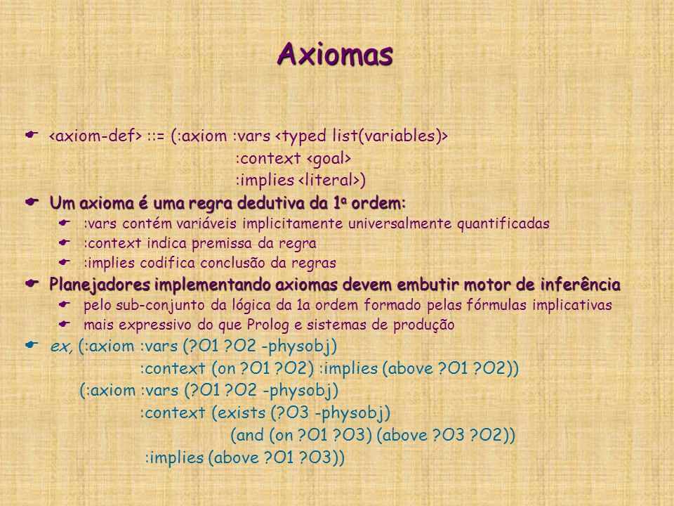 Axiomas <axiom-def> ::= (:axiom :vars <typed list(variables)> :context <goal> :implies <literal>)