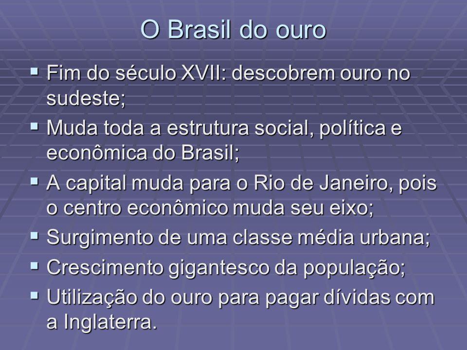 O Brasil do ouro Fim do século XVII: descobrem ouro no sudeste;