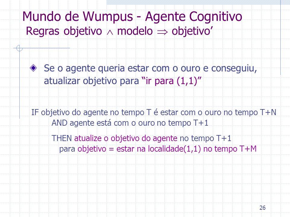 Mundo de Wumpus - Agente Cognitivo Regras objetivo  modelo  objetivo'
