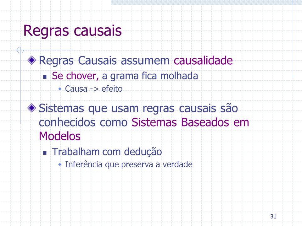 Regras causais Regras Causais assumem causalidade