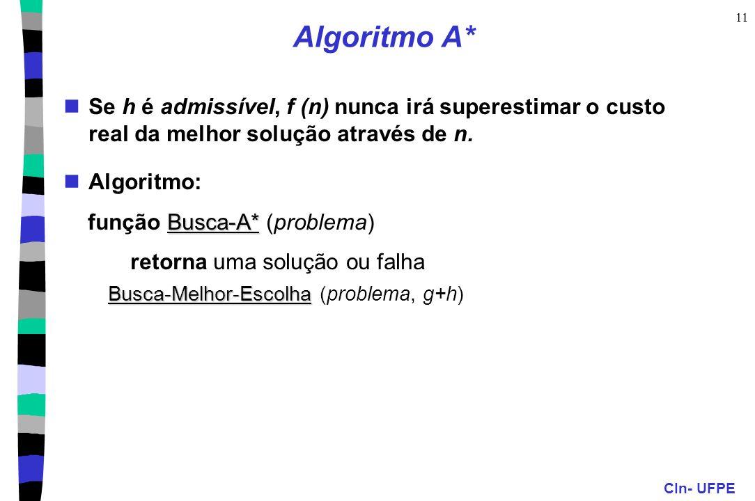 Algoritmo A* Se h é admissível, f (n) nunca irá superestimar o custo real da melhor solução através de n.