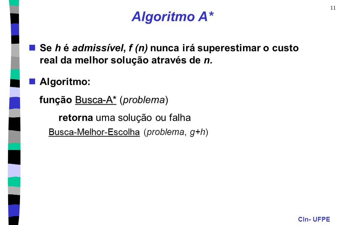 Algoritmo A*Se h é admissível, f (n) nunca irá superestimar o custo real da melhor solução através de n.