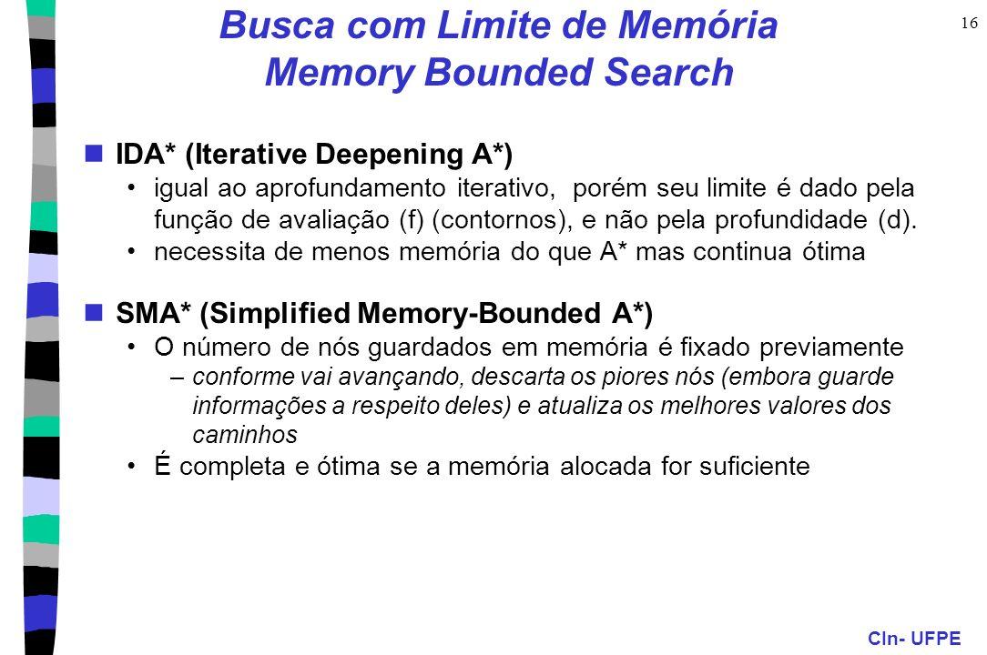 Busca com Limite de Memória Memory Bounded Search