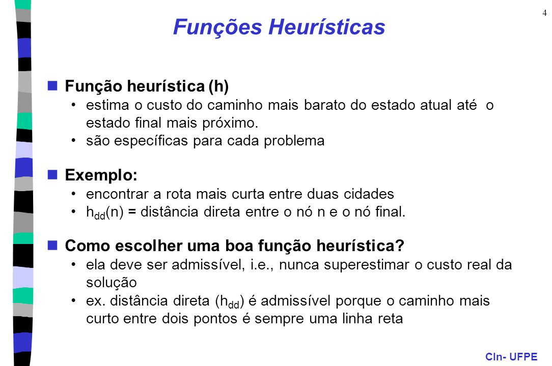Funções Heurísticas Função heurística (h) Exemplo: