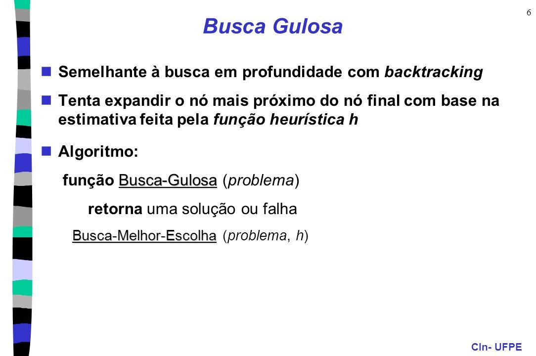 Busca Gulosa Semelhante à busca em profundidade com backtracking