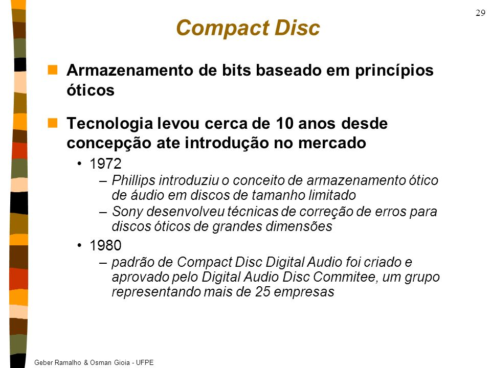 Compact Disc Armazenamento de bits baseado em princípios óticos