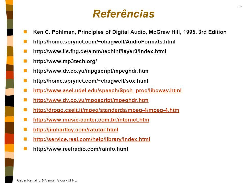ReferênciasKen C. Pohlman, Principles of Digital Audio, McGraw Hill, 1995, 3rd Edition. http://home.sprynet.com/~cbagwell/AudioFormats.html.