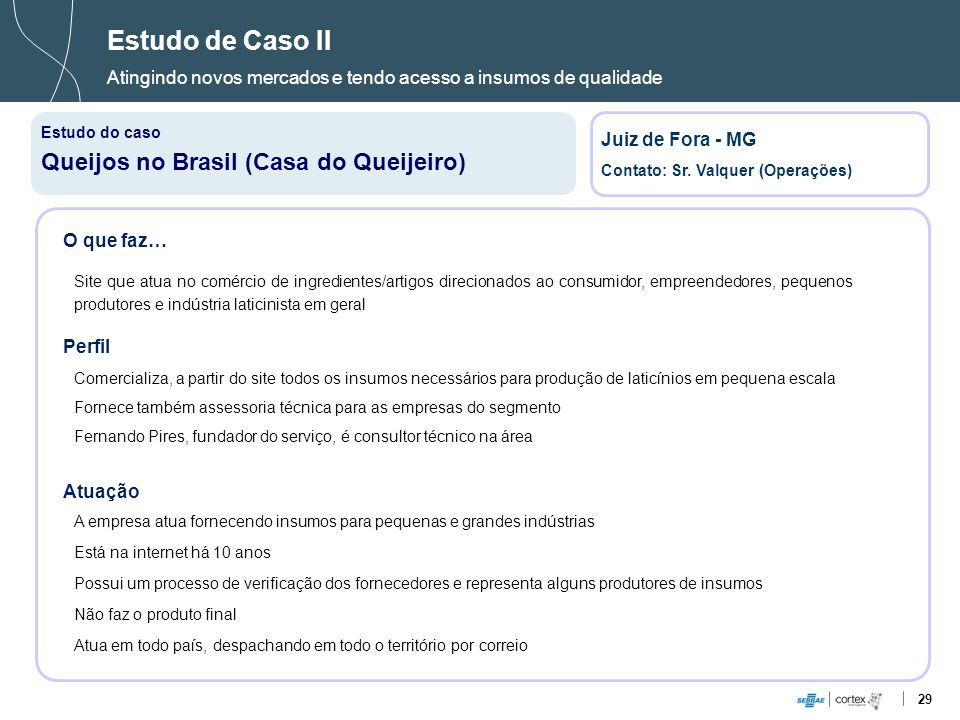 Estudo de Caso II Queijos no Brasil (Casa do Queijeiro)
