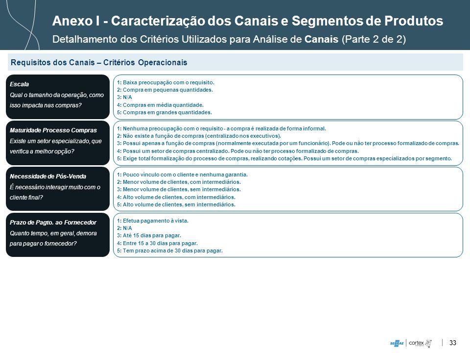 Anexo I - Caracterização dos Canais e Segmentos de Produtos