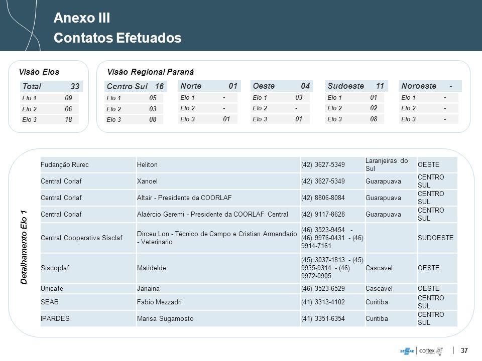 Anexo III Contatos Efetuados Visão Elos Visão Regional Paraná Total 33