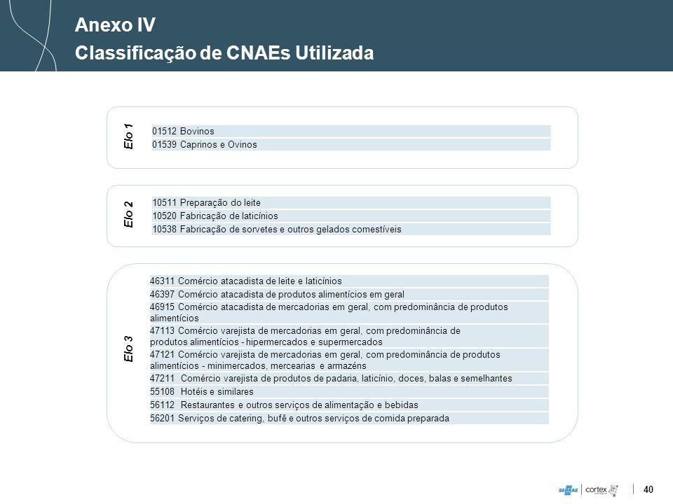 Classificação de CNAEs Utilizada