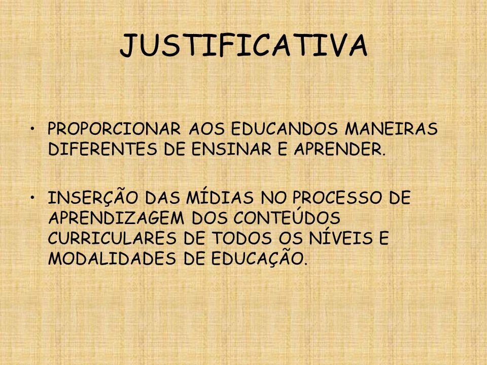 JUSTIFICATIVA PROPORCIONAR AOS EDUCANDOS MANEIRAS DIFERENTES DE ENSINAR E APRENDER.