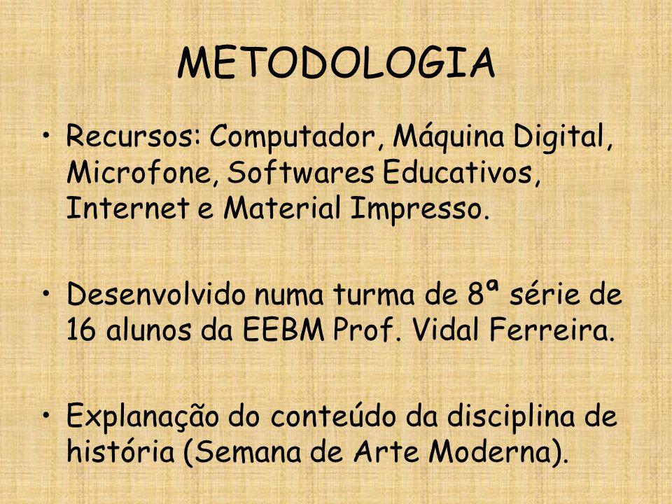 METODOLOGIA Recursos: Computador, Máquina Digital, Microfone, Softwares Educativos, Internet e Material Impresso.