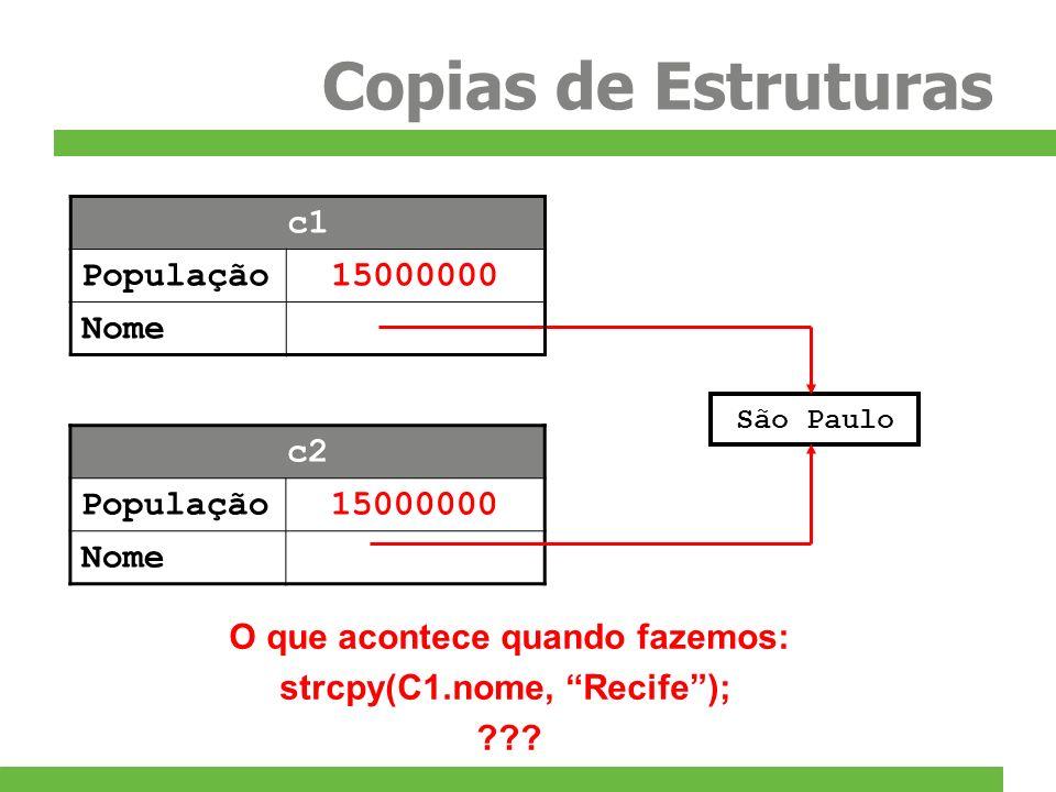 O que acontece quando fazemos: strcpy(C1.nome, Recife );