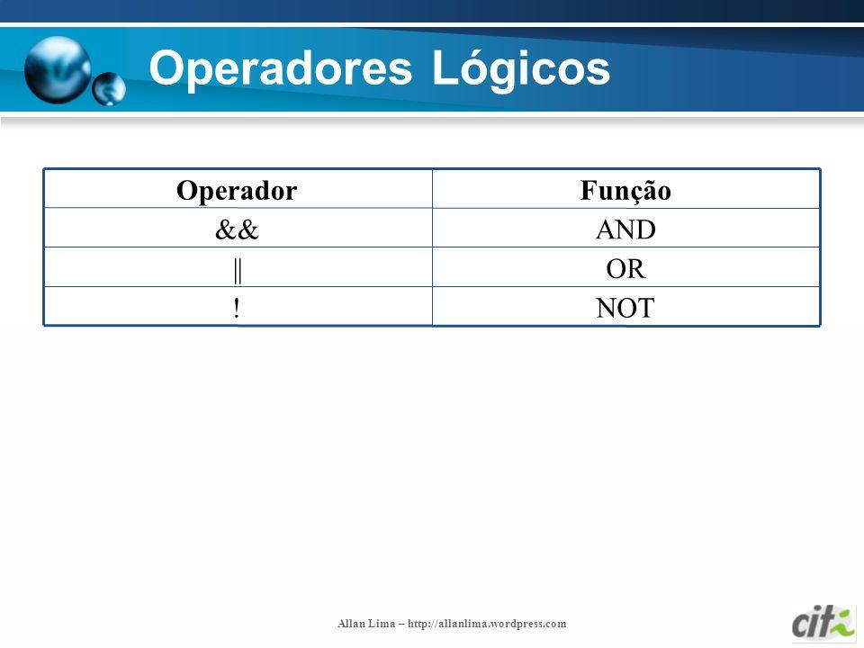 Operadores Lógicos NOT ! OR || AND && Função Operador