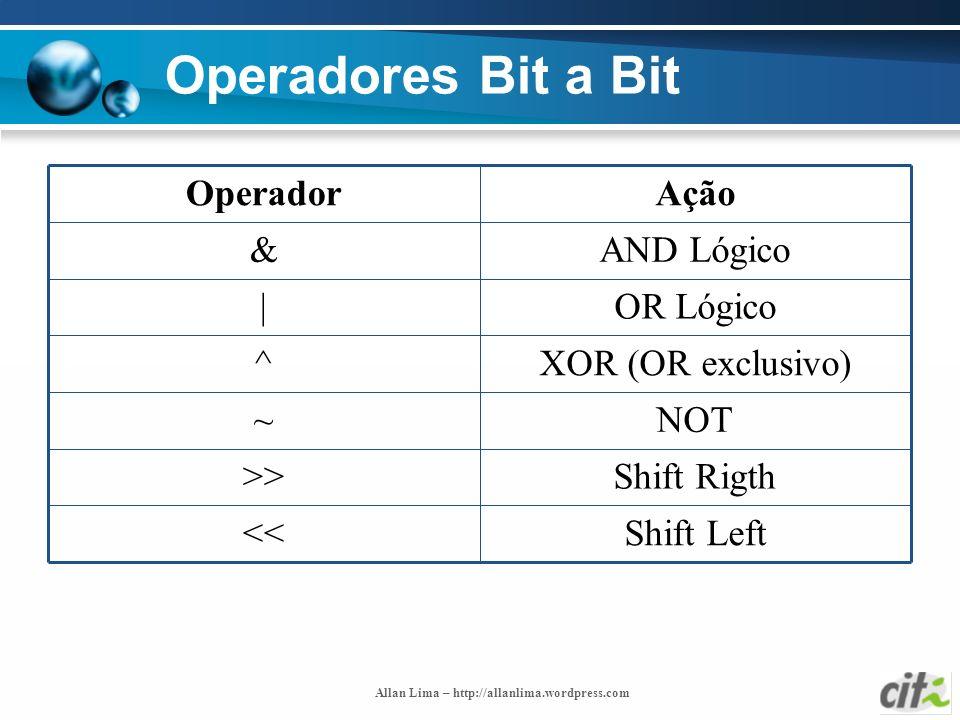 Operadores Bit a Bit Shift Left << Shift Rigth >> NOT ~