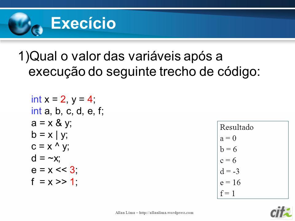Execício 1)Qual o valor das variáveis após a execução do seguinte trecho de código: int x = 2, y = 4;