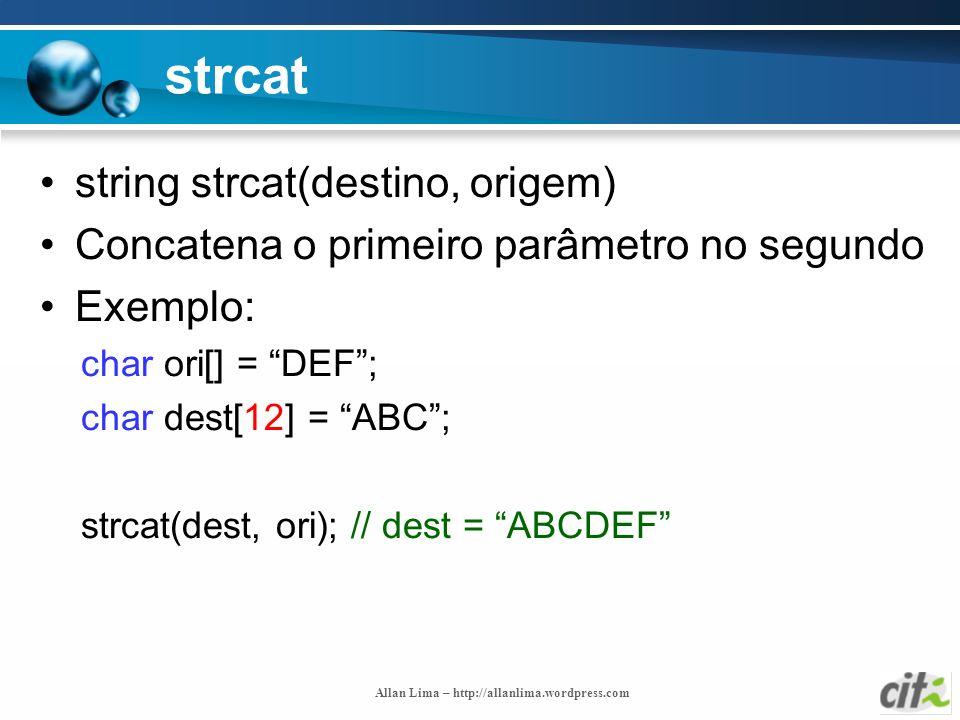 strcat string strcat(destino, origem)
