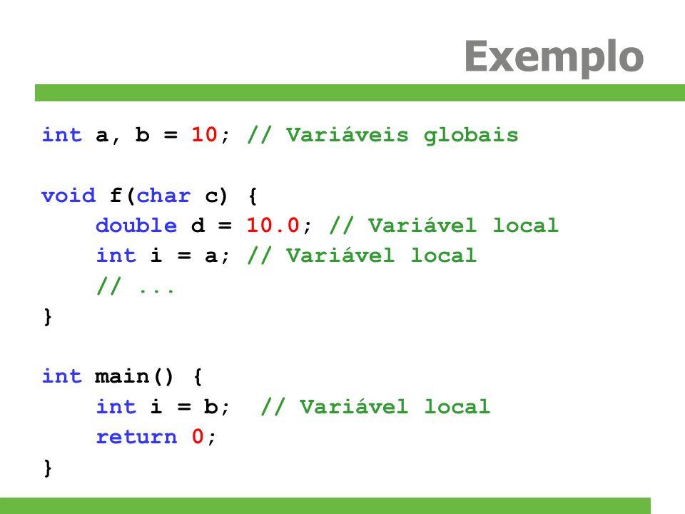 Exemplo int a, b = 10; // Variáveis globais void f(char c) {