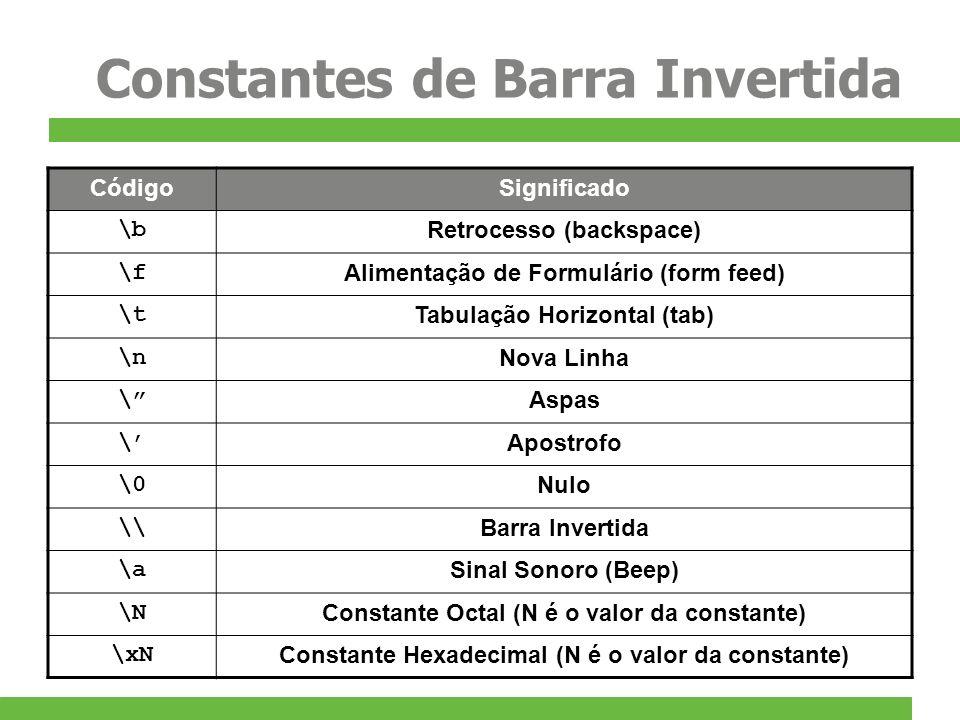 Constantes de Barra Invertida