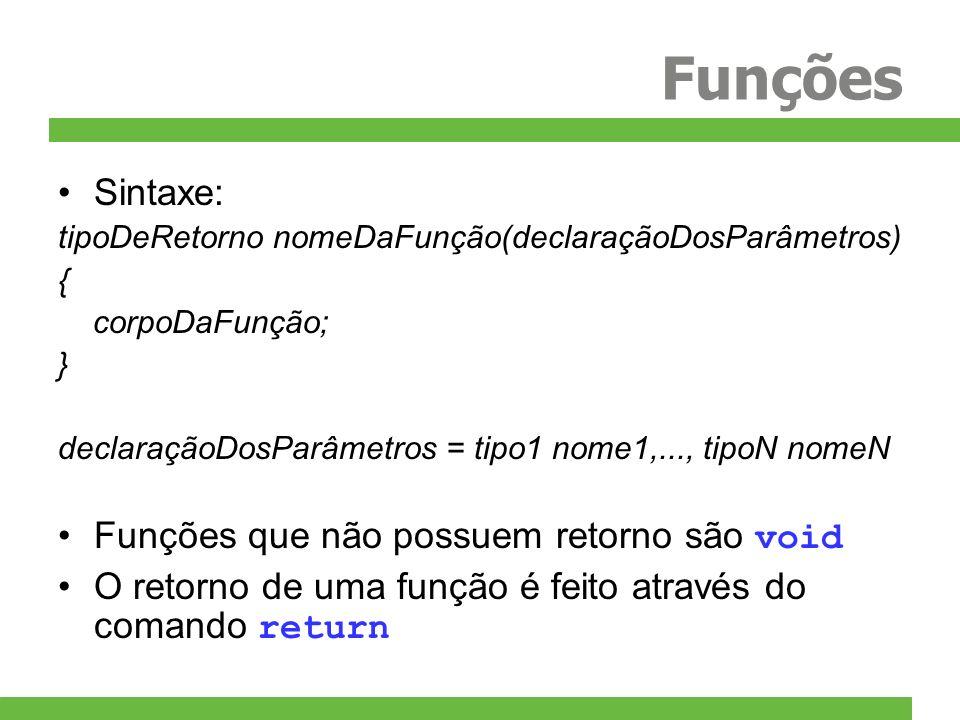 Funções Sintaxe: Funções que não possuem retorno são void