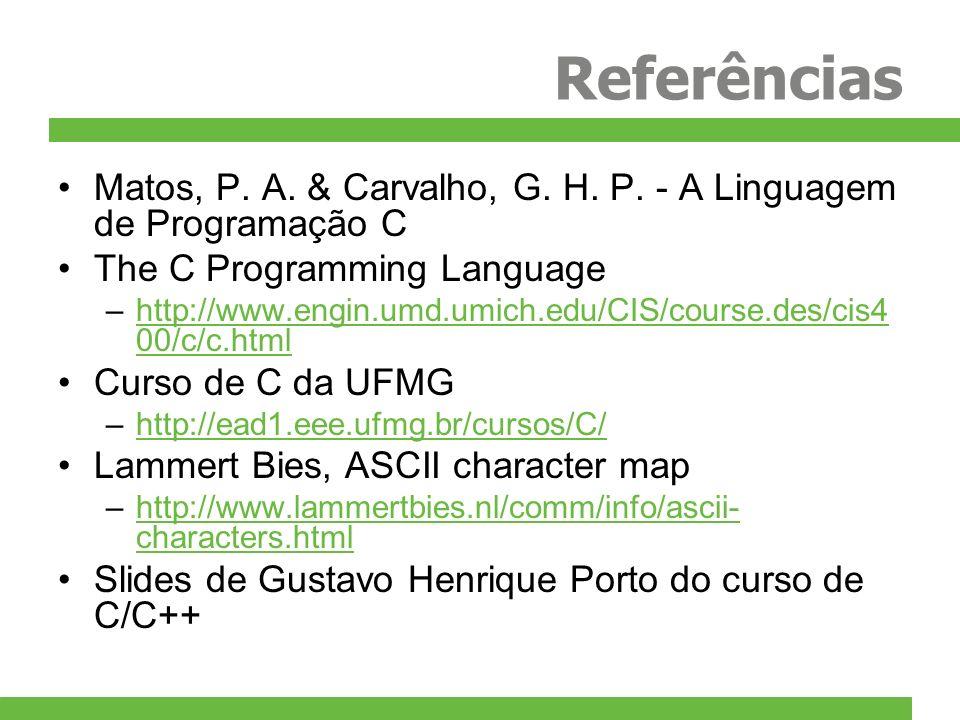 Referências Matos, P. A. & Carvalho, G. H. P. - A Linguagem de Programação C. The C Programming Language.