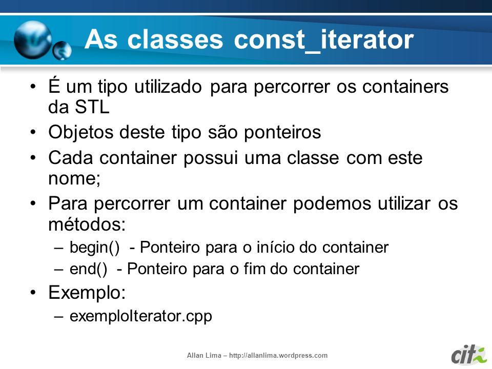As classes const_iterator