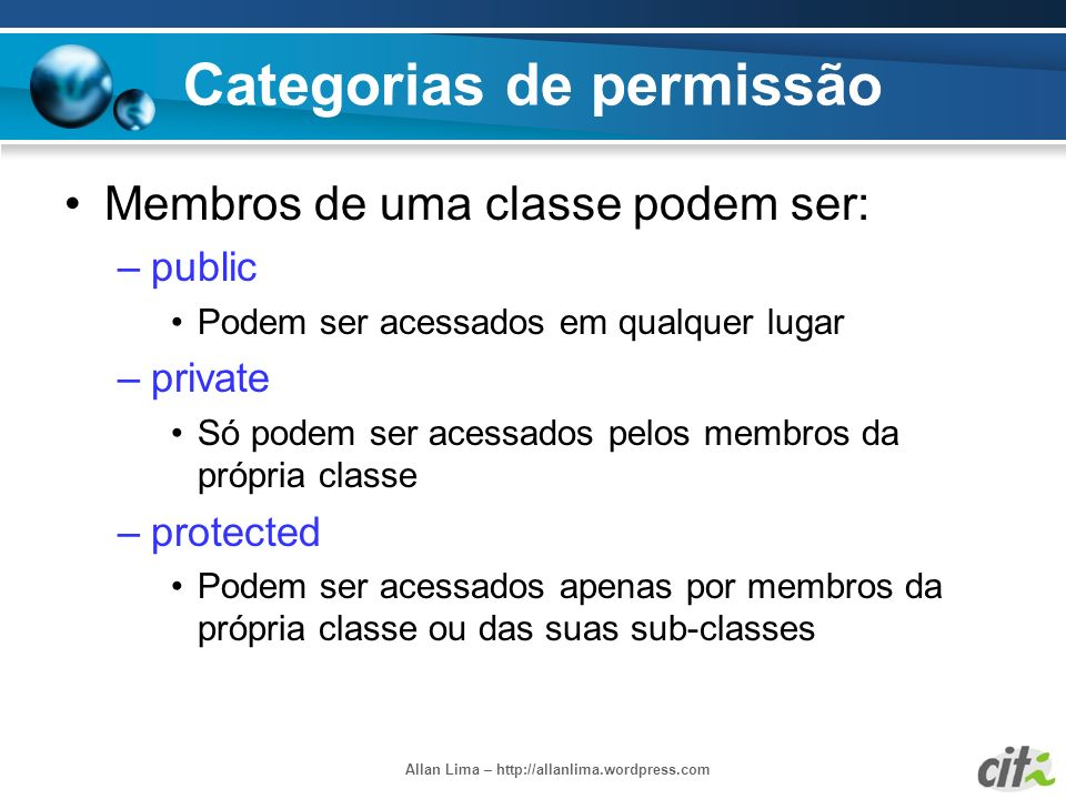Categorias de permissão