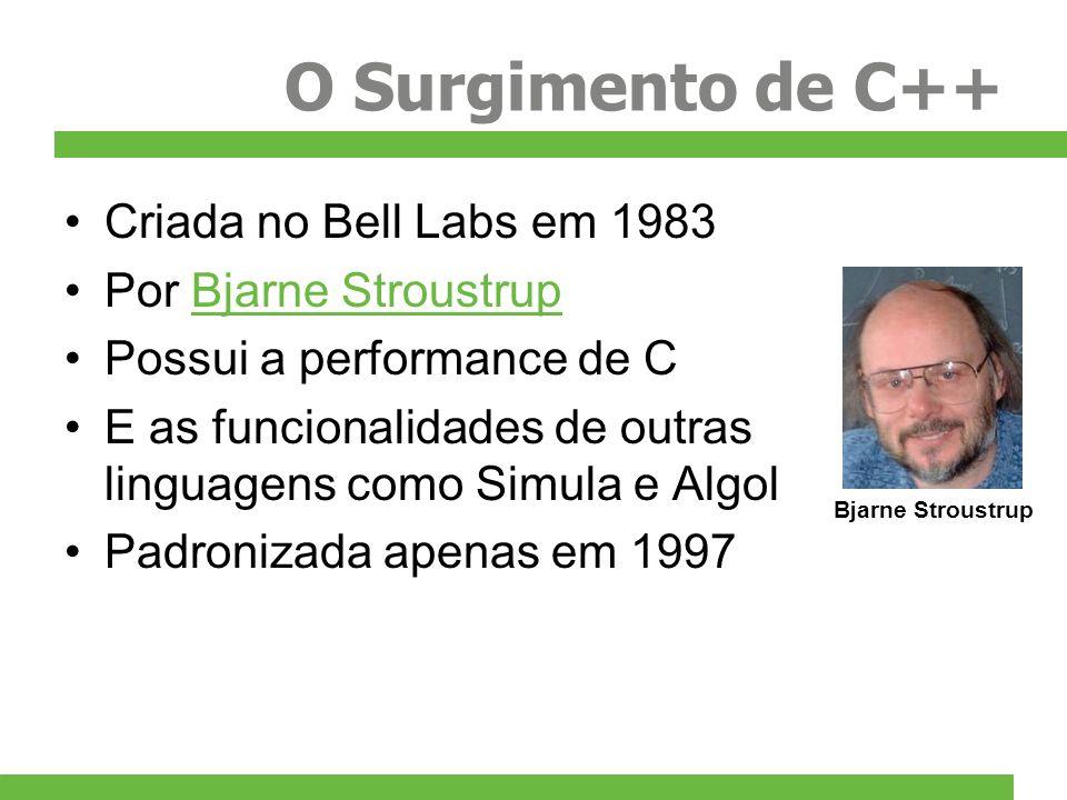 O Surgimento de C++ Criada no Bell Labs em 1983 Por Bjarne Stroustrup