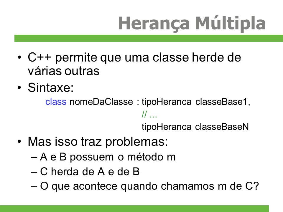 Herança Múltipla C++ permite que uma classe herde de várias outras