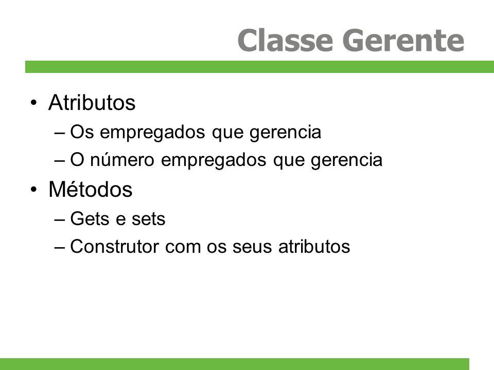 Classe Gerente Atributos Métodos Os empregados que gerencia